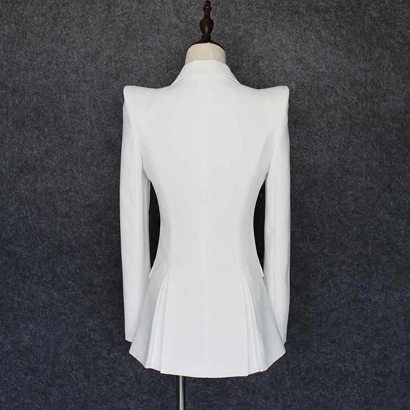 איכות גבוהה 2020 חדש נשים לבן Slim Fit בלייזר חליפת כפתור אחת מחורצים צווארון OL מעיל Slim Fit משרד עבודה חליפת מעילים
