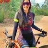 Rosa de manga longa camisa ciclismo skinsuit 2020 mulher ir pro mtb bicicleta roupas opa hombre macacão gel almofada skinsuit 12
