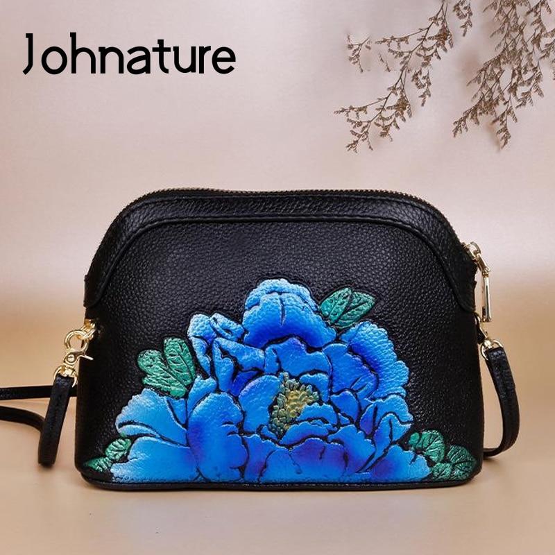 Johnature Vintage Floral Cow Leather Women Bag 2020 New Retro Ladies Mini Bags Leisure Cowhide Female Shoulder Messenger Bag