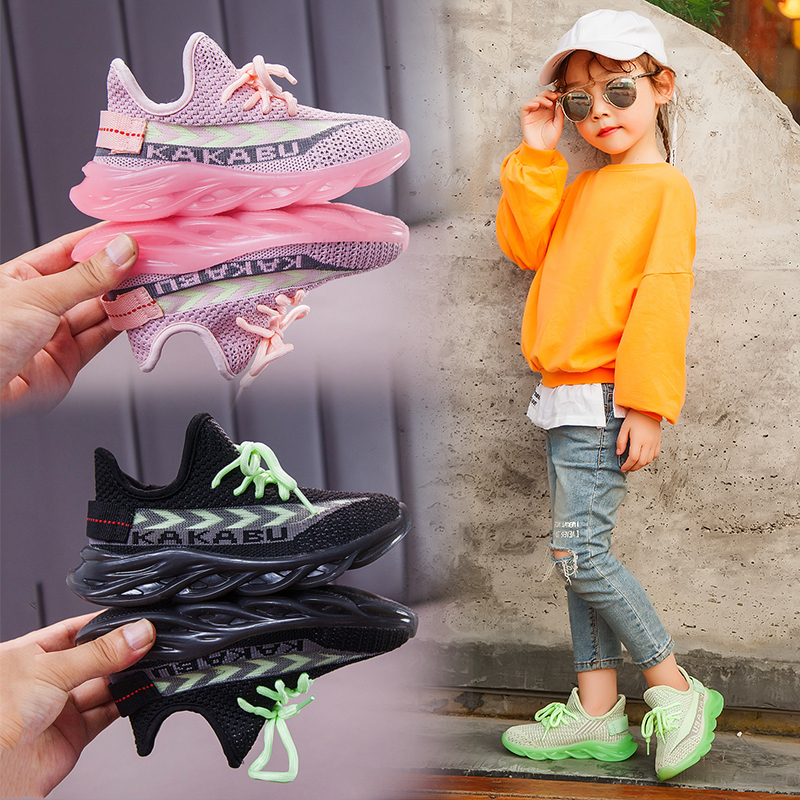 2019 Children Shoes Kids Boys Girls Sneakers Led Light Net Sport Running Tennis Trainers Mesh Rubber Shoes Kids Casual Sneakers