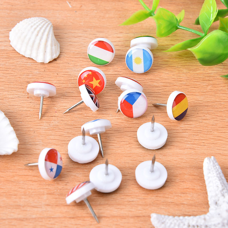 16pcs Map Tacks Pins National Flag Glue Push Pins Office Notice Board Thumb Tack Mix Color Decoration School Supplies