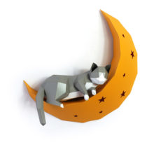 Paper Wall Hanging Statues Sculptures Cat On Moon Animal Model Home Decor DIY Craft