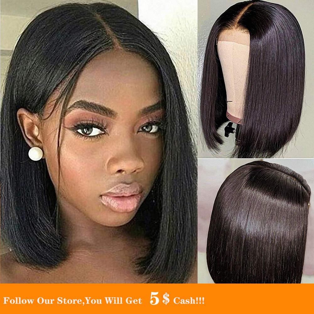 13x4 Lace Front Wig Short Black BobStraight Transparent Synthetic Wig Colored Silky Natural Hairline Pre Plucked With Baby Hair