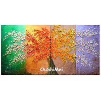 Hand Painted Four Seasons Landscape Oil Painting Modern Wall Paintings On Canvas for Decor Colorful Knife Tree Oil Painting