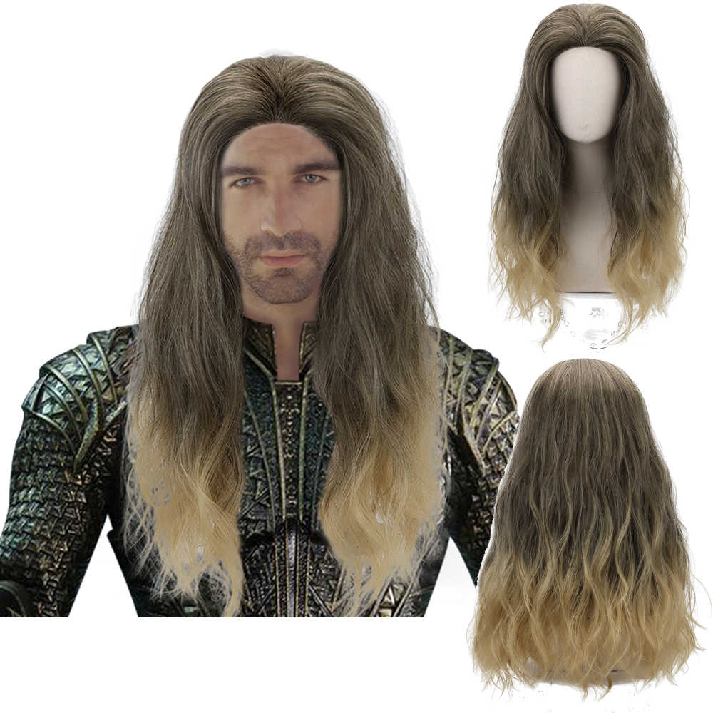 Comic Film Aquaman Mera Cosplay Blonde Ombre Wijn Rood Lang Golvend Synthetisch Haar Pruiken voor Mannen Vrouwen Party Kostuum Halloween