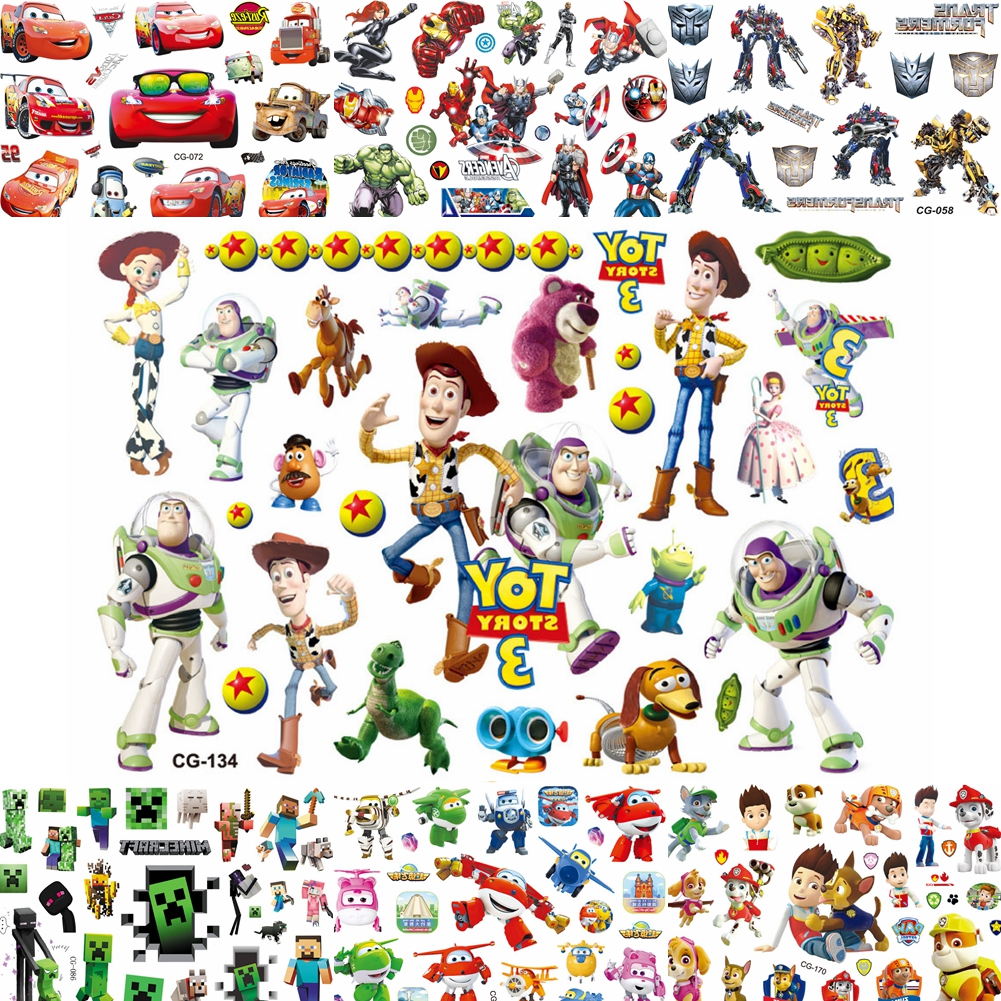 Cartoon Movie Toy Story Temporary Tattoos For Kids Children Waterproof Fake Tattoos Buzz Lightyear Woody Body Art 3D Tatoo Paste
