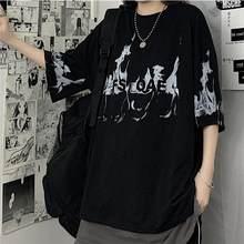 2021 Black Flame Tshirt Streetwear Oversize T Shirt Harajuku Cool Japan Cute T Shirt Female Casual Gothic Punk Funny Loose Tops