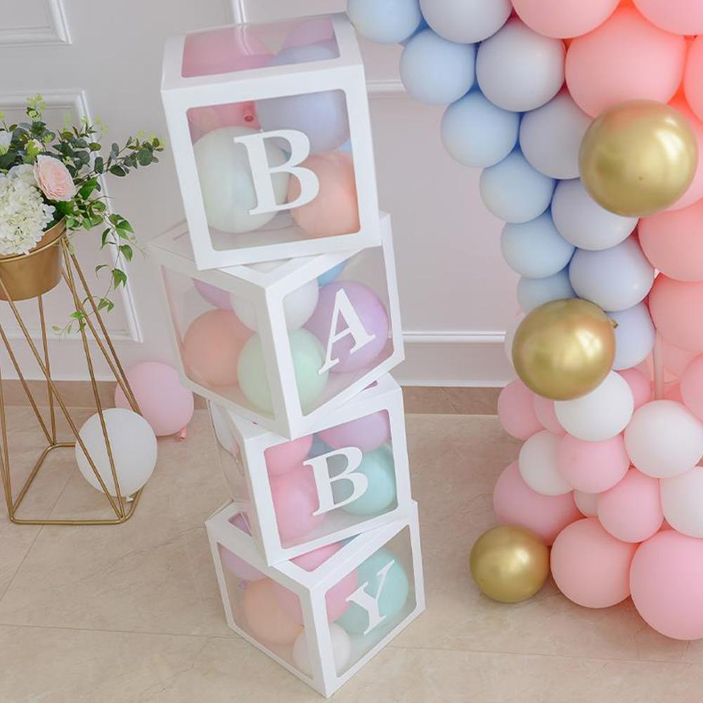 DIY 26 Letter Balloons Box Transparent Name Box First 1st Birthday Party Decor Macaron Balloons Box Baby Shower Balloons supply