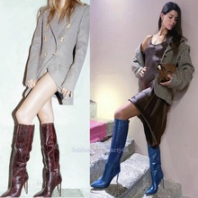 Women Boots Long Blue Croc Printed Knee High Stiletto Heeled Boots Female Pointe