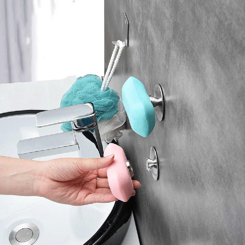 Ze stali nierdzewnej akcesoria łazienkowe stojak do montowania na ścianę danie z naklejki mydło półki magnetyczne stojaki na mydło