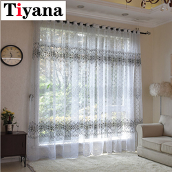 Rústico burnout sheer tule cortinas de cozinha cinza rideaux voile painéis janela para sala estar zh032y