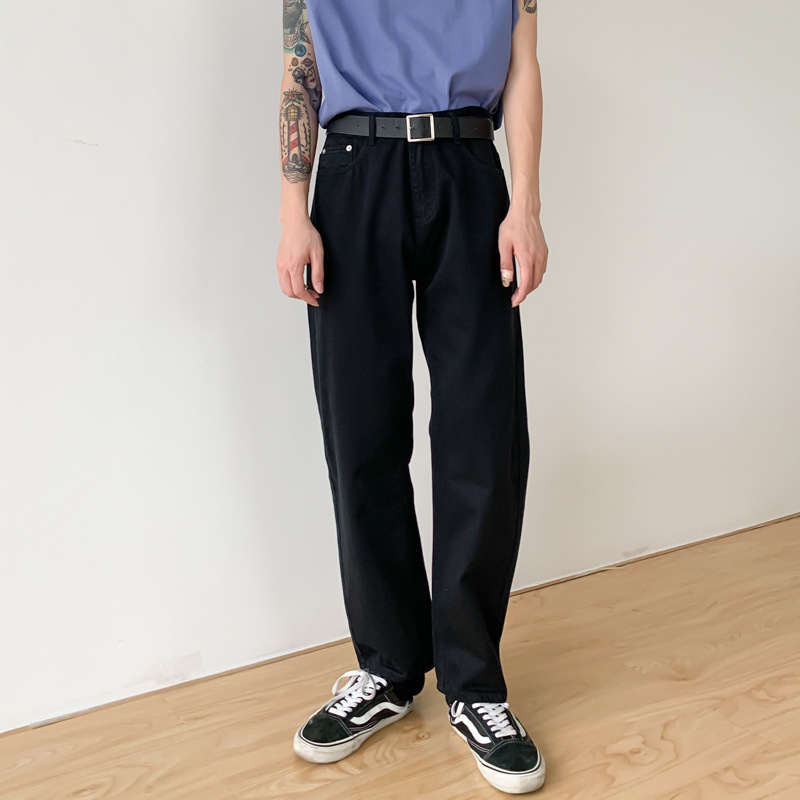 Men Black White Casual Straight Pants Male Women Japan Korea Streetwear Vintage Fashion Trousers Unisex Pant