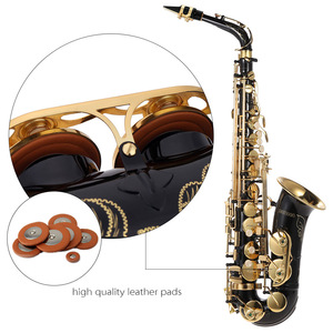 Image 2 - Ammoon Hoogwaardige Messing Gelakt Goud E Altsaxofoon E Platte Sax Gesneden Patroon Houtblazers Instrument Met Draagtas