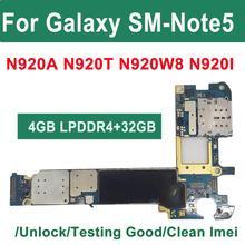 Origial placa mãe 32gb 64gb desbloqueado para samsung galaxy note 5 n920w8 n920i n920a placa lógica android