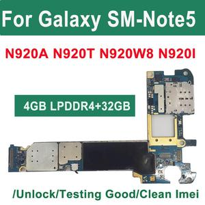 Image 1 - Orijinal 32GB 64GB Unlocked Samsung Galaxy not 5 için N920W8 N920I N920A Android mantık kurulu