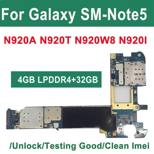 Orijinal 32GB 64GB Unlocked Samsung Galaxy not 5 için N920W8 N920I N920A Android mantık kurulu