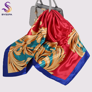 New Women Scarves Hijabs Fashion Luxury Red Gold Large Silk Scarf Shawl Printed Autumn Winter Ladies Square Scarves Headscarves