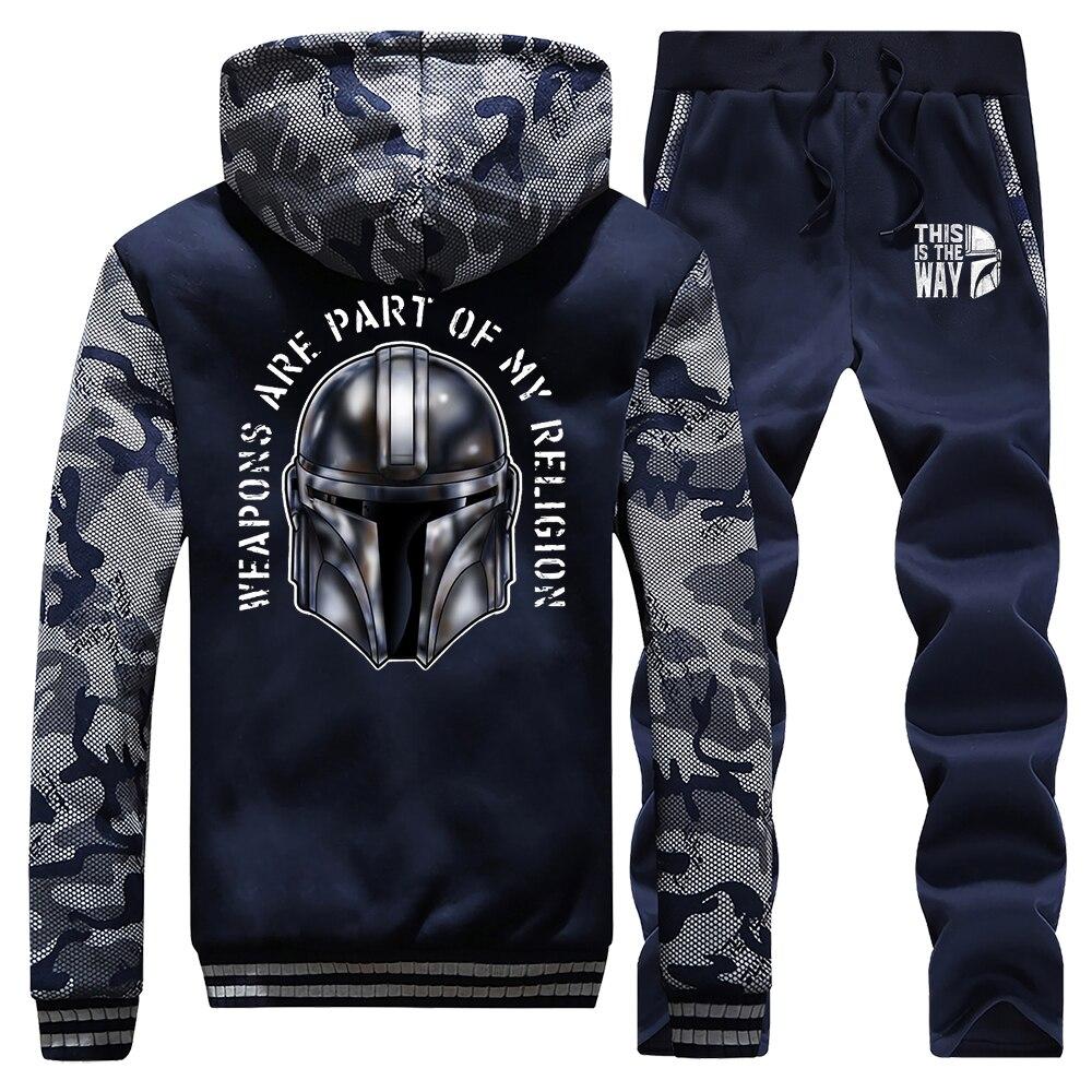 The Mandalorian Men Set Star Wars TV Show Tracksuit Thick Fleece Hoodies Sweatshirt + Pants Sportswear Suit 2020 Spring Hoodie