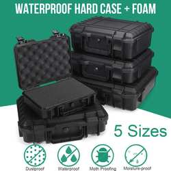 Caixa de ferramentas de instrumento de segurança protetora à prova dwaterproof água à prova de choque caixa de ferramentas de armazenamento selado caso resistente ao impacto mala esponja