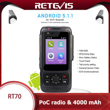 Retevis RT70 Network Walkie Talkie 4G Android 5.1.1 Smart Phone SIM card GPS 4000mAh LTE/WCDMA/GSM Radio Push-to-Talk POC Radio