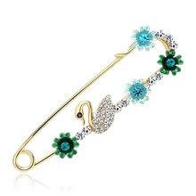 Korean alloy diamond swan brooch fashion Joker temperament ladies pin high-grade towel buckle dual-use