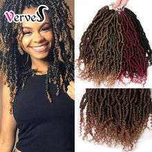 Verves Lente Twist Kinky Gehaakte Vlecht Hair Extensions 12 Inch, 24 Strands/Pack Synthetische Ombre Vlechten Haar Afro Twist Bug(China)