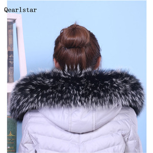 Image 2 - 100% Real Natural Raccoon Fur Collar Hood Trim Winter Women Men Down Coat Fur Scarves Black Scarf Custom Zxx756 Fashion Decor