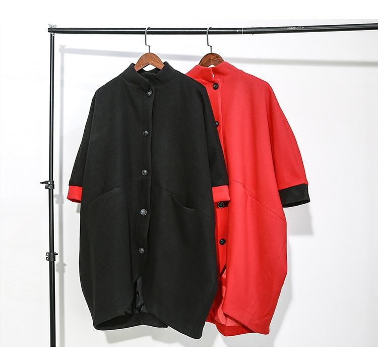 New Fashion Style Red Black Trench Coat With Big Pocket Fashion Nova Clothing