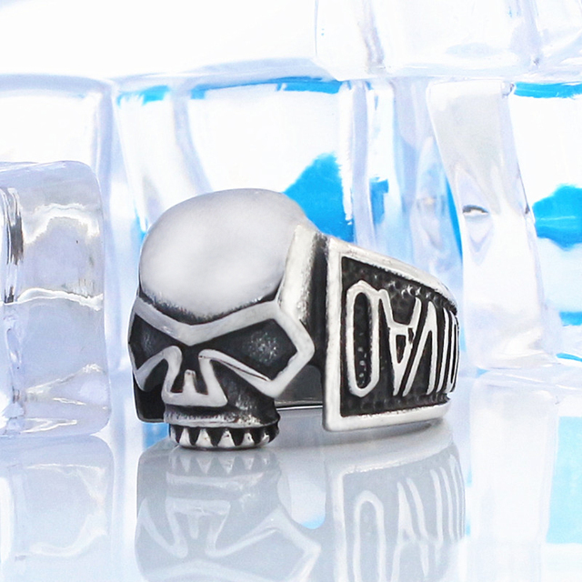 KLDY Gothic skull ring for men stainless steel male ring unique personalized fashion fine jewelry Halloween gift for best friend