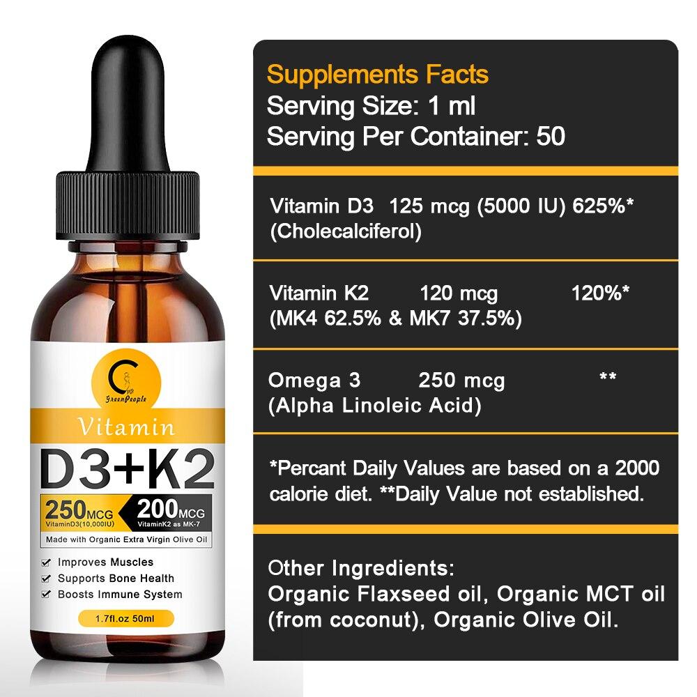 Organic Vitamin D3 K2 Liquid Drops Vegan Essential Supplements Nutro Vegan 6