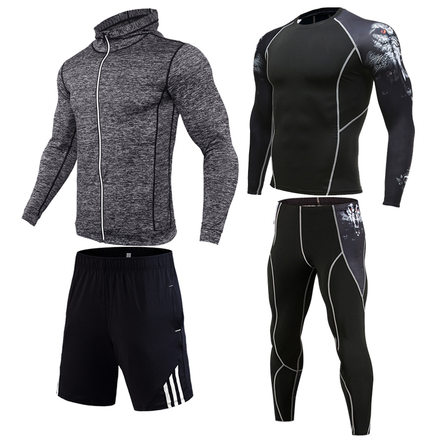 Winter Warm Jogging Suit Men's Gym Training Sweatshirt Sports Shorts Leggings T-shirt Men Tracksuit  Factory Direct Free Express