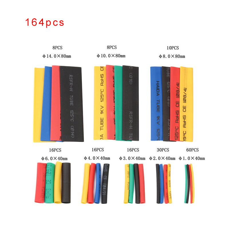 328//530Pcs 8 Sizes Assorted 2:1 Heat Shrink Tubing Tube Wrap Sleeve Cable New
