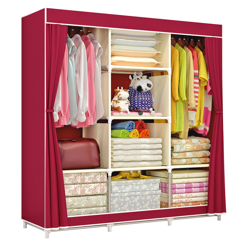 Home Large Fully-Closed Clothes Storage Closet Quilts Organizer Wardrobe With Metal Shelves Dustproof Non-woven Fabric Cover