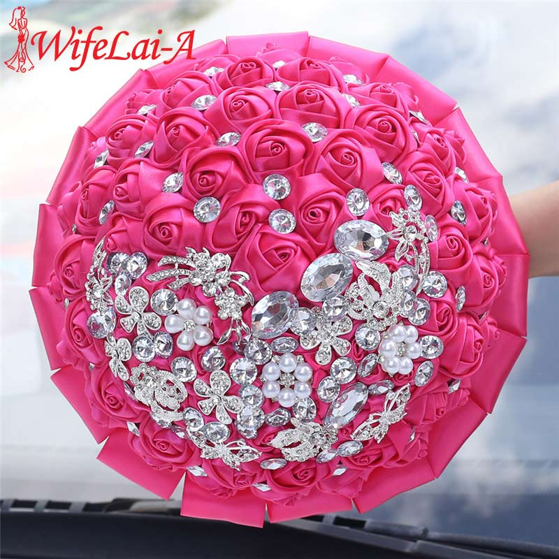 WIFELAI-A Rose Red Ribbon Wedding Bouquet Handmade Bridal Bridesmaid Holding Flowers Brooch Bouquet Crystal Buque Noiva W2287D