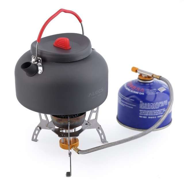 Red Anti-Scalding Ultralight Alluminum oxide 1.4L Alocs CW-K03 Outdoor Kettle Camping Picnic Water Teapot Coffee Pot