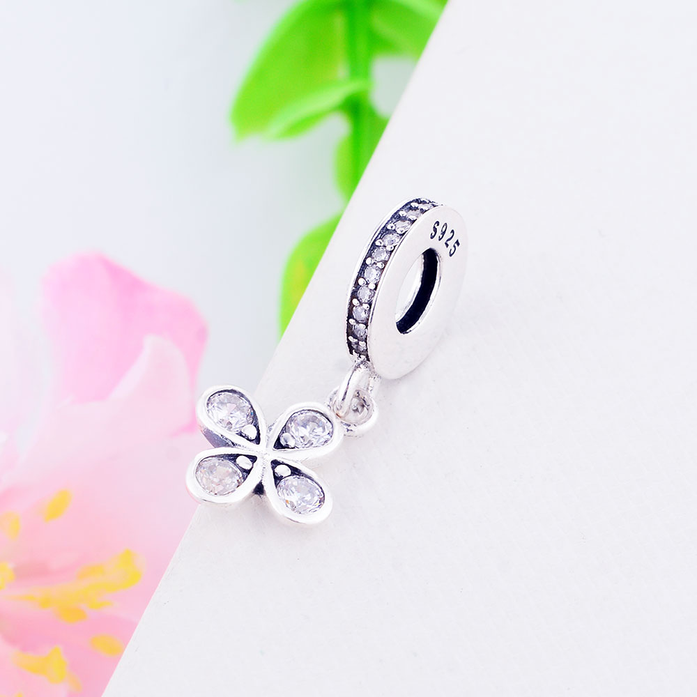 2019 Spring Release Sterling Silver Four-petal Flower Pendant Charm With Clear CZ Charm Bead Fits All European DIY Bracelet Necklaces