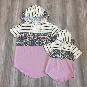 Мама и я, летняя одежда для маленьких девочек с леопардовым принтом, 3 части, толстовка, мама и дочь, хлопковая одежда