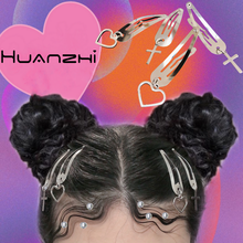 HUANZHI-Pinza para el pelo de Metal para mujer y niña, Clip para el pelo Punk, Hip Hop, Cruz de color plata, corazón, estrella, gota, accesorios para el cabello, 2021