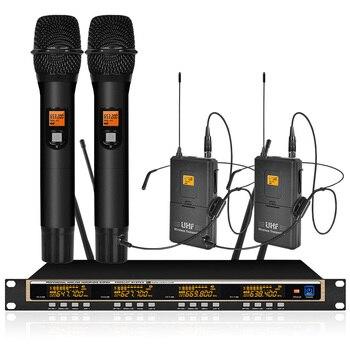 Orban profissional uhf sistema de microfone sem fio 2 handheld fone ouvido microfone sem fio conferência karaoke