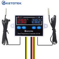 12 v 24 v 220 v 10a kt99 termostato digital controlador de temperatura da incubadora termorregulador aquecedor controle térmico com sonda dupla