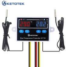 12V 24V 220V 10A KT99 termostato Digital incubadora controlador de temperatura termorregulador calentador Control DE enfriador con doble sonda