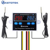 12V 24V 220V 10A KT99 Digital Thermostat Incubator Temperature Controller Thermoregulator Heater Cooler Control With Dual Probe