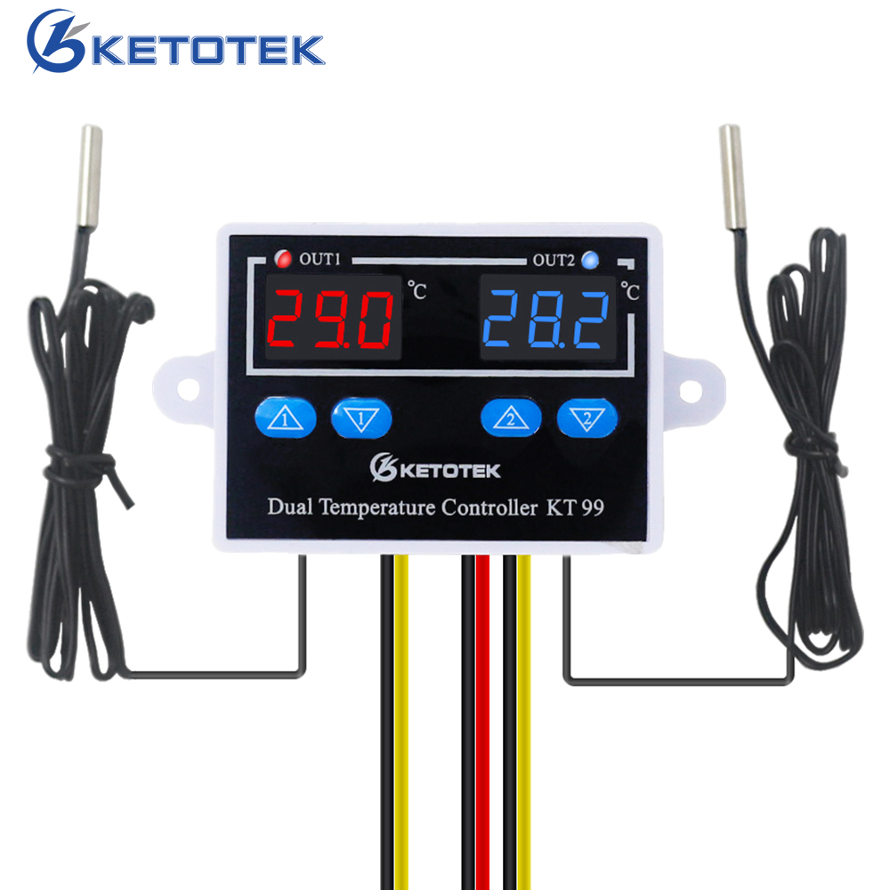 12V 24V <font><b>220V</b></font> <font><b>10A</b></font> KT99 Digital Thermostat Incubator <font><b>Temperature</b></font> <font><b>Controller</b></font> Thermoregulator Heater Cooler Control With Dual Probe image