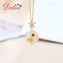 DAIMI 15.5-16mm Coin Pearl Pendant Necklace S925 Sterling Silver Pendant Women Gift(China)