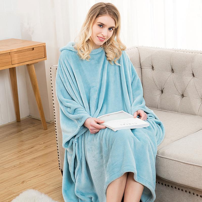 Winter Thick Sofa Comfy TV Blanket Hoodie Sweatshirt Weighted Throw Blanket Fuzzy Fleece Plaid Blanket Fleece Blanket Adult Kids 22