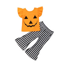 New Kids Toddlers Baby Girl Halloween Pumpkin T-shirt Ruffle Tops+Striped Pant Festival Girls Outfit Clothes Set(China)