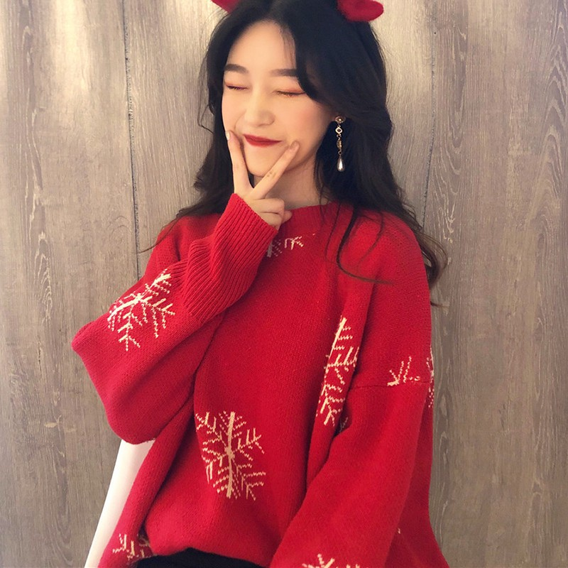 Loose Casual Red Knit Pullover Fashion New Women's Thicken Christmas Sweater Knitted Sweater Pull Femme Hiver Truien Dames