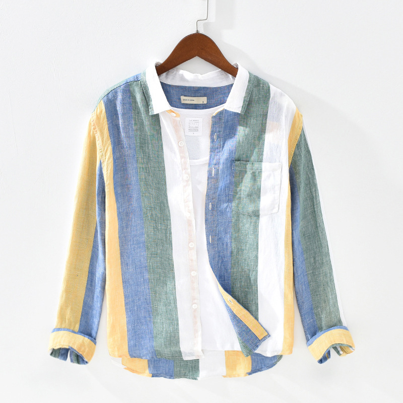 Men Spring Fashion Japan Style 100% Pure Linen High Quality Colorful Stripe Dyed Long Sleeve Shirt Male Minimalism Leisure Shirt