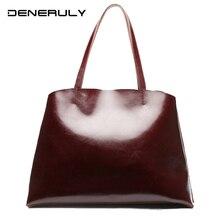 Cowhide Soft Genuine Leather Handbag Female High Quality Luxury Women Bags Designer Vintage Real Leather Tote Bag Sac Main Femme