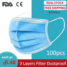Mascarillas desechables Earloop mascarillas antibacterianas antipolvo mascarillas de seguridad faciales protectoras 3 capas 10/50/100 Uds CE FDA(China)